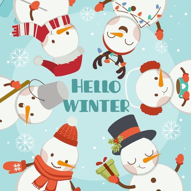 Il personaggio del simpatico pupazzo di neve e degli amici nella cornice blu saluta l'inverno. Vettore Premium