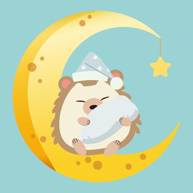 Il personaggio del simpatico riccio seduto sulla mezzaluna con una piccola stella. il simpatico riccio dorme e abbraccia un cuscino e indossa un cappello sulla luna. il personaggio del riccio carino in vettoriale piatto. Vettore Premium