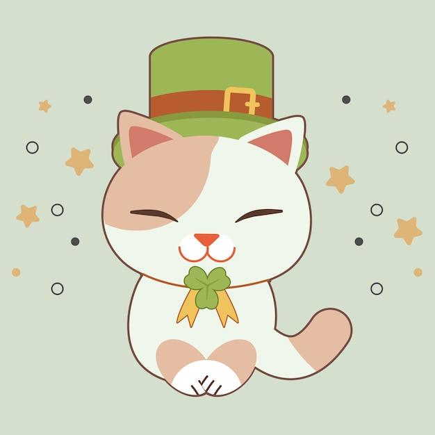 Il personaggio di cute indossa un cappello a cilindro verde e un nastro di foglie di trifoglio per il tema di san patrizio. Vettore Premium