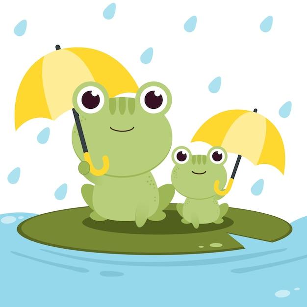 Il personaggio di rana che tiene un ombrello sotto la pioggia Vettore Premium
