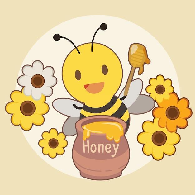 Il personaggio di un'ape carina con un barattolo di miele e un fiore sul giallo. Vettore Premium
