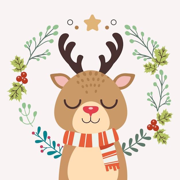 Il personaggio di un simpatico cervo con la ghirlanda natalizia. Vettore Premium