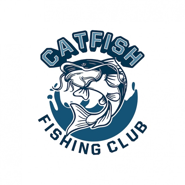 Il pesce gatto salta con acqua blu di sfondo per il badge con il logo del tuo club di pesca. può essere utilizzato anche su magliette Vettore Premium