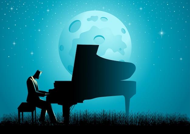 Il pianista durante la luna piena Vettore Premium