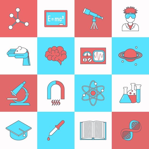 Il piano dell'icona di ricerca e di scienza con il libro di graduazione del dna ha isolato l'illustrazione di vettore Vettore Premium