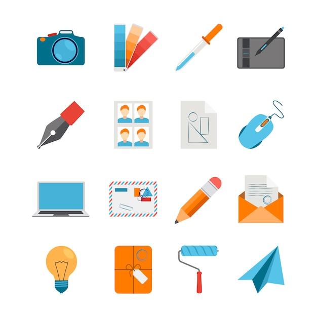 Il piano delle icone di progettazione creativa ha messo con il computer portatile del digitalizzatore del topo della macchina fotografica Vettore gratuito