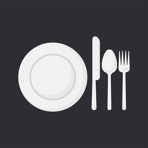 Il piatto bianco e gli utensili hanno messo l'illustrazione di vettore Vettore gratuito