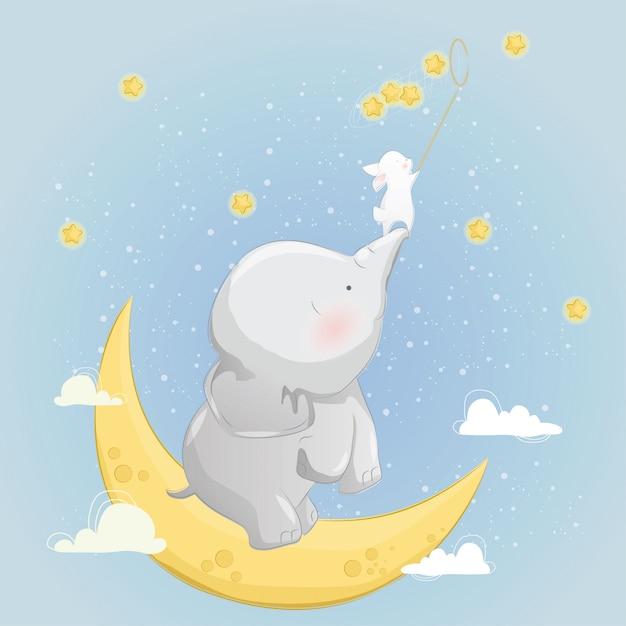 Il piccolo elefante aiuta il coniglio a catturare le stelle Vettore Premium