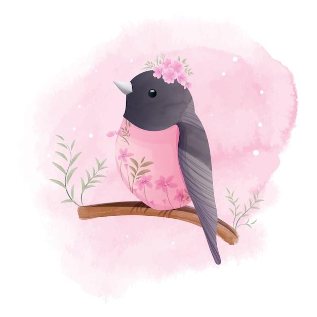 Il piccolo pettirosso si appollaia su un ramo con bellissimi fiori, acquerello. Vettore Premium