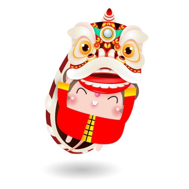 Il piccolo ratto esegue lion dance per il felice anno nuovo cinese 2020 Vettore Premium