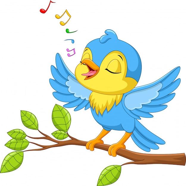 Il piccolo uccello sveglio canta su un ramo di albero Vettore Premium