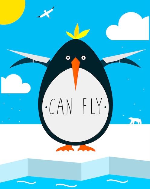 Il pinguino grasso vuole volare Vettore Premium