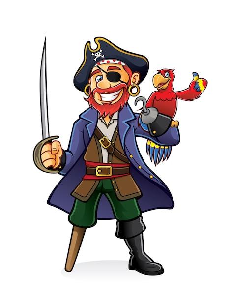 Il pirata era in piedi con una spada sguainata con un pappagallo appollaiato a mano Vettore Premium