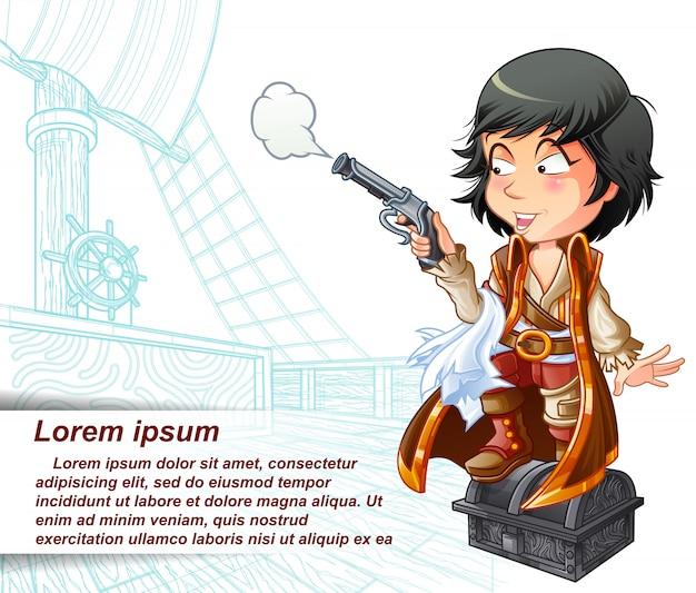 Il pirata sta portando la pistola nella nave pirata schizzata. Vettore Premium
