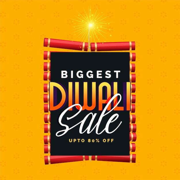 Il più grande disegno di poster di vendita di diwali con cracker Vettore gratuito