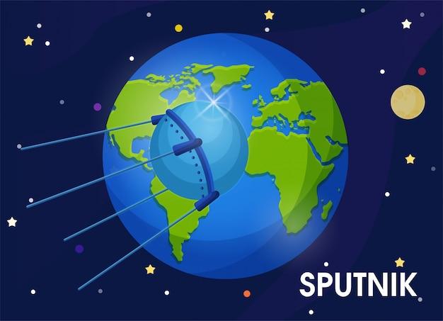 Il primo satellite dell'unione sovietica fu mandato in orbita attorno alla terra. Vettore Premium