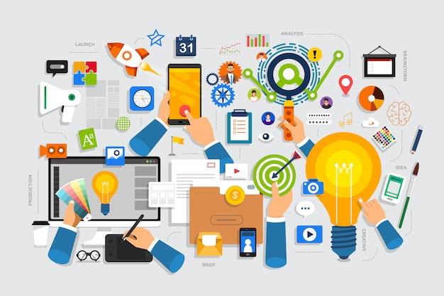 Il processo creativo del concept design piatto inizia con una breve idea e un brainstorming. Vettore Premium