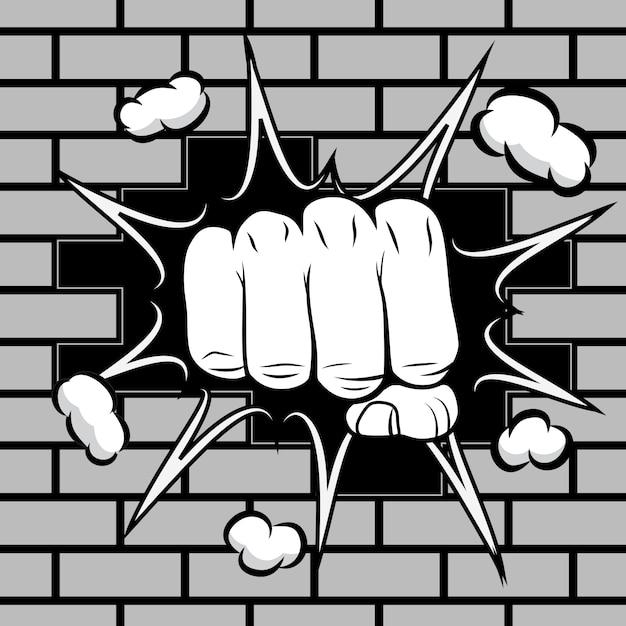 Il pugno serrato colpì l'emblema del muro Vettore Premium