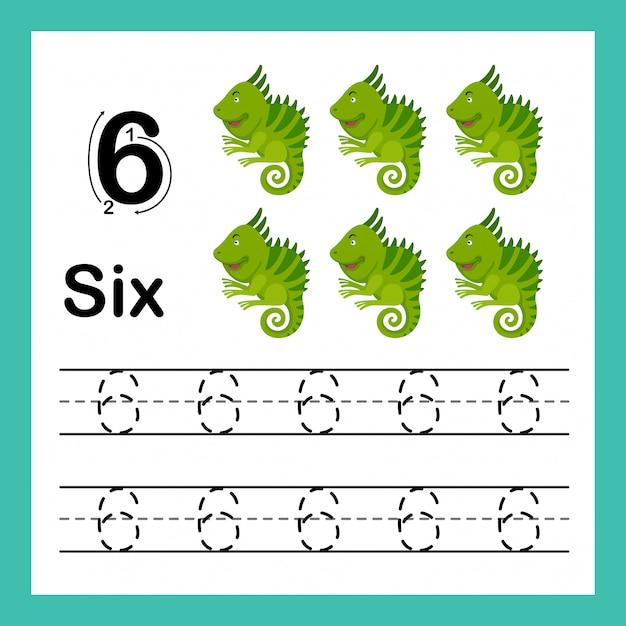 Il punto di collegamento e i numeri stampabili esercitano l'illustrazione Vettore Premium