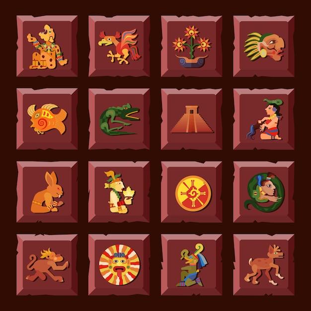 Il quadrato di maya ha messo con l'illustrazione di vettore isolata piano di simboli della cultura e di civilizzazione Vettore gratuito