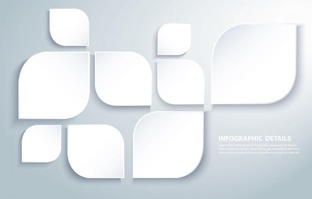 Il quadrato moderno astratto copre di foglie fondo Vettore Premium