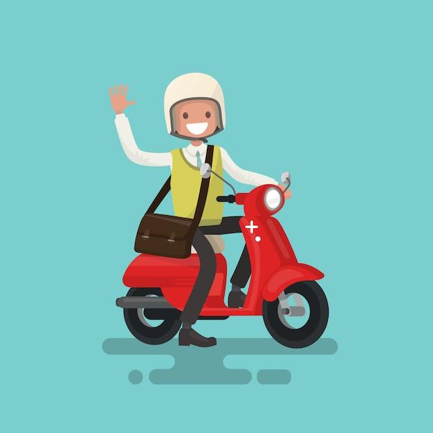 Il ragazzo allegro guida un'illustrazione della motocicletta Vettore Premium