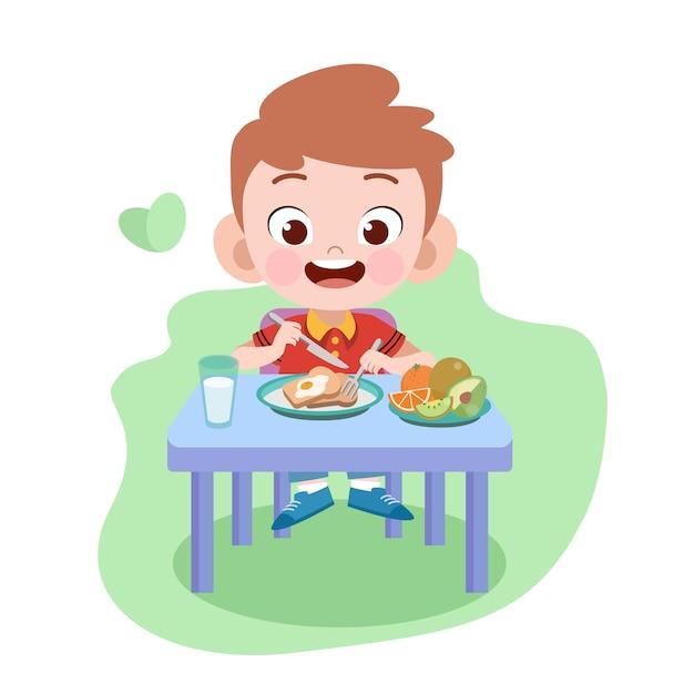 Il ragazzo del bambino mangia l'illustrazione Vettore Premium