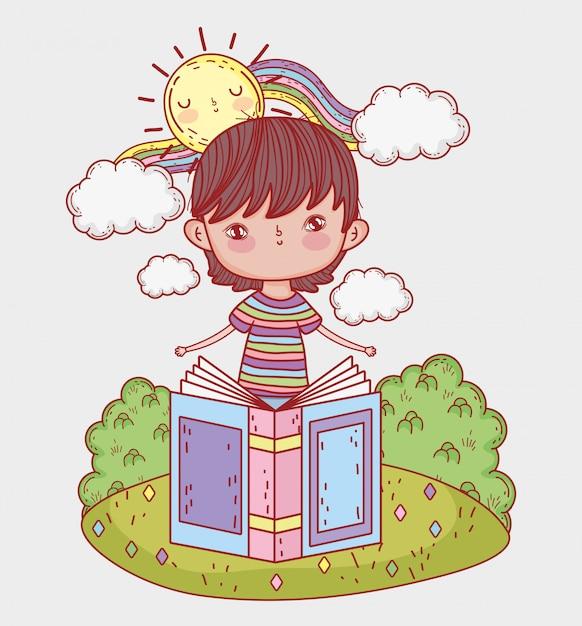 Il ragazzo ha letto il libro con sole e arcobaleno Vettore Premium