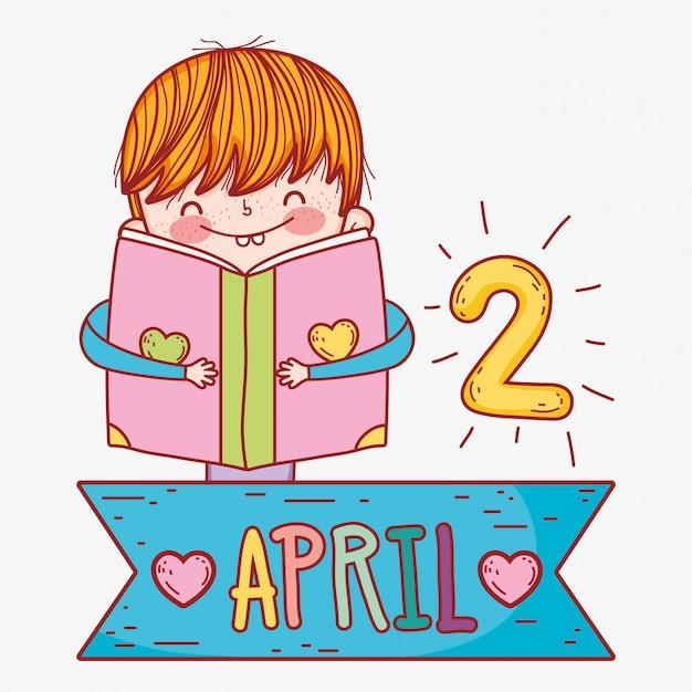 Il ragazzo legge le informazioni del libro alla conoscenza Vettore Premium