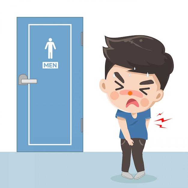 Il ragazzo soffre di mal di stomaco e ha bisogno di fare la cacca davanti al bagno. Vettore Premium