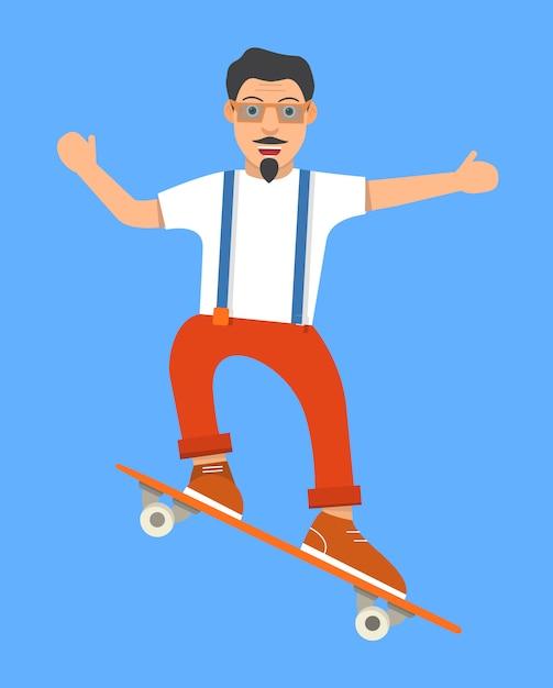 Il ragazzo sportivo fa un trucco con lo skateboard. Vettore Premium