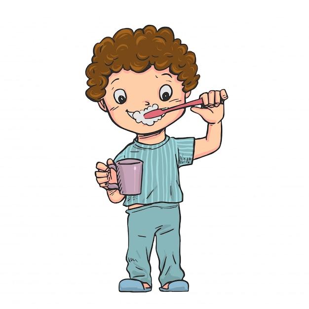 Il ragazzo stava in piedi lavandosi i denti. Vettore Premium