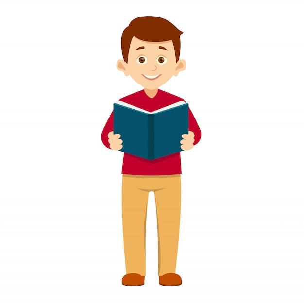 Il ragazzo tiene un libro aperto Vettore Premium