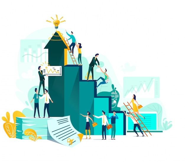 Il raggiungimento degli obiettivi e il concetto di business del lavoro di squadra, la crescita della carriera e la cooperazione per lo sviluppo del progetto Vettore gratuito