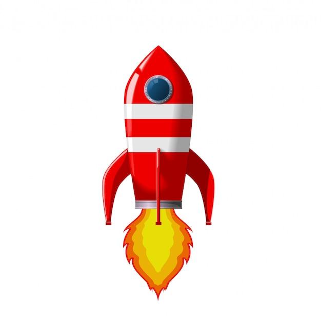 Il razzo spaziale retrò si solleva. Vettore Premium