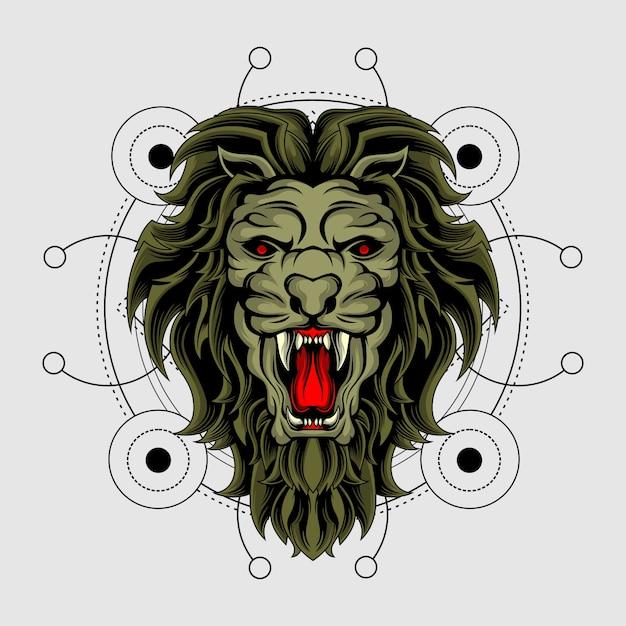 Il re della bestia con geometria sacra Vettore Premium