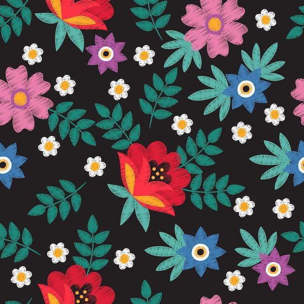 Il ricamo fatto a mano floreale etnico con la camomilla ed i fiori vector il modello senza cuciture Vettore Premium