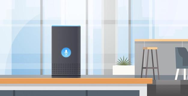 Il riconoscimento vocale intelligente intelligente ha attivato gli assistenti digitali ha automatizzato l'originale piano interno del caffè di concetto moderno del rapporto di comando Vettore Premium