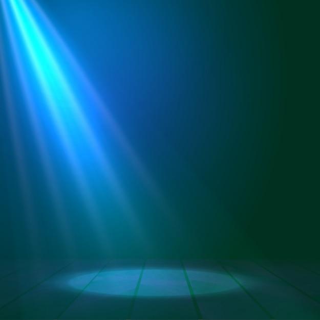 Il riflettore del proiettore illumina il fondo di legno della scena Vettore Premium