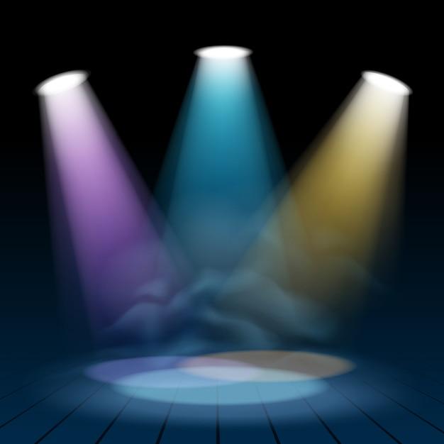 Il riflettore floodlight illumina lo sfondo della scena Vettore Premium