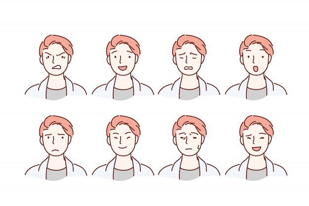 Il ritratto bello del tipo con differenti espressioni facciali ha messo isolato su fondo. Vettore Premium