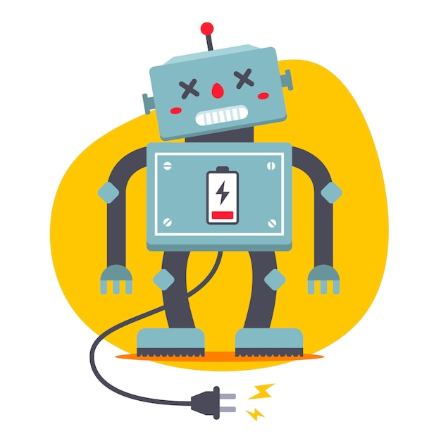 Il robot è scollegato. bisogno di ricaricare. fame elettrica. carattere vettoriale piatto. Vettore Premium