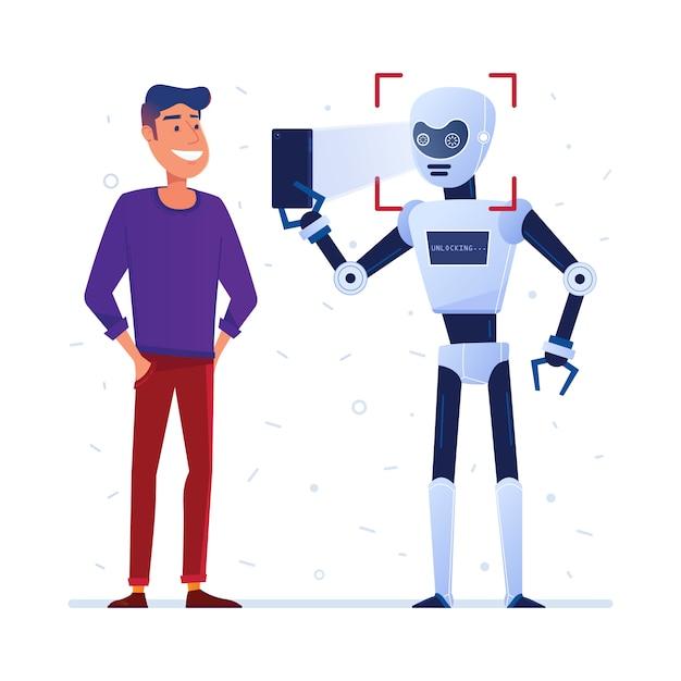 Il robot utilizza il blocco del viso su uno smartphone Vettore Premium