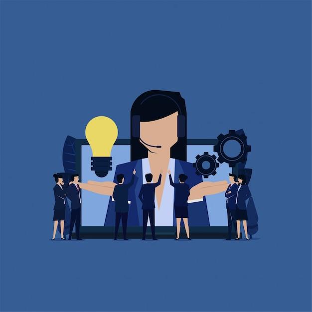 Il servizio clienti business fornisce idee e impostazioni per la risoluzione dei problemi. Vettore Premium