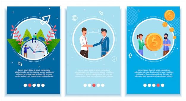 Il set di pagine mobili per le aziende migliora e sviluppa Vettore Premium