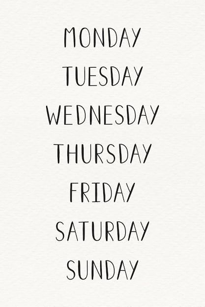 Il set tipografia della settimana Vettore gratuito
