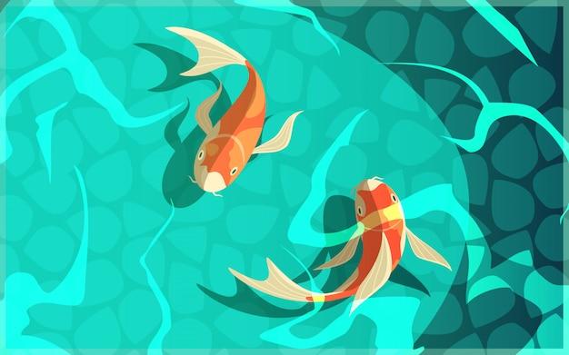 Il simbolo giapponese della carpa a specchi di fortuna di retro fortuna del fumetto di fortuna pesca nel manifesto dell'acqua Vettore gratuito