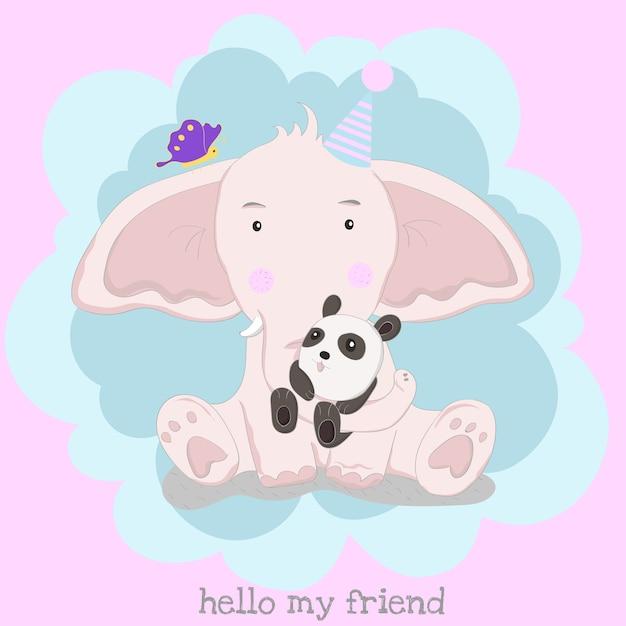 Il simpatico elefantino e panda Vettore Premium
