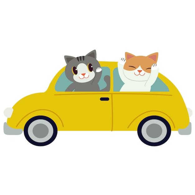 Il simpatico gatto che guida un'auto gialla. il gatto guida un'auto gialla su sfondo bianco. Vettore Premium