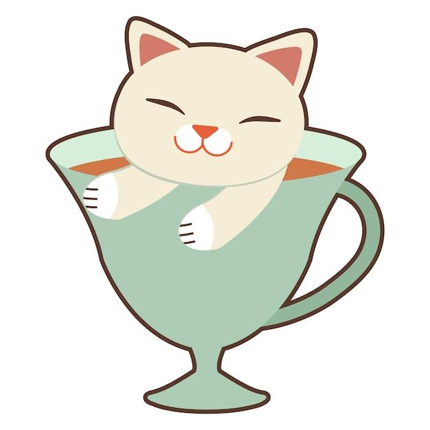 Il simpatico gatto seduto nella tazza. Vettore Premium